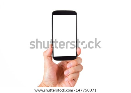 Hand holding smart phone with blank, white screen, front view, isolated on white background.