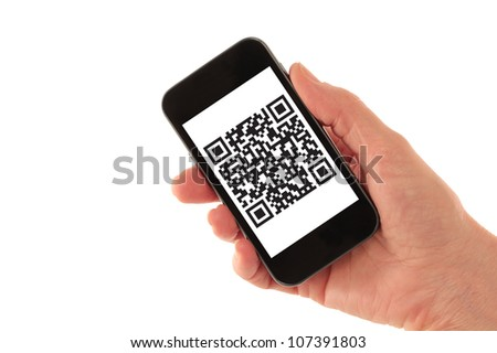 Hand Holding Smart Phone with QR Code Barcode (QR Code is fictitious � created by photographer) isolated on white