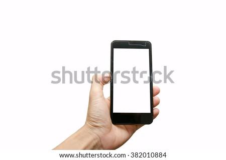 hand holding smartphone #382010884