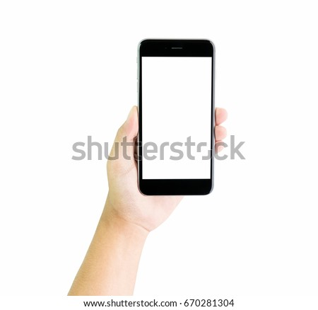Hand holding smartphone blank screen, clipping path. #670281304