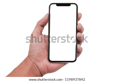 Hand holding Smartphone iphon 11 pro Max with white screen and modern design - isolated the black on white background, include clipping path.