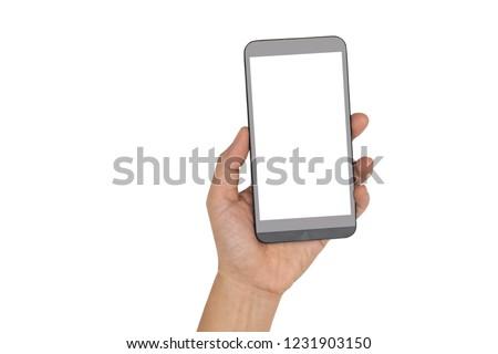 hand holding smartphone isolated on white background #1231903150