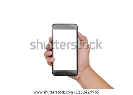 hand holding smartphone mobile and touching screen isolated on white background, cliping path inside #1152429965