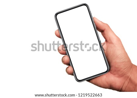 Hand holding Smartphone 11 pro with white screen and modern design - isolated the black on white background, include clipping path.