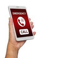 Hand holding smartphone with emergency call services in screen isolated on white background.