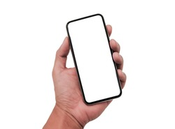 Hand holding Smartphone with modern frameless design and blank screen isolated on white background