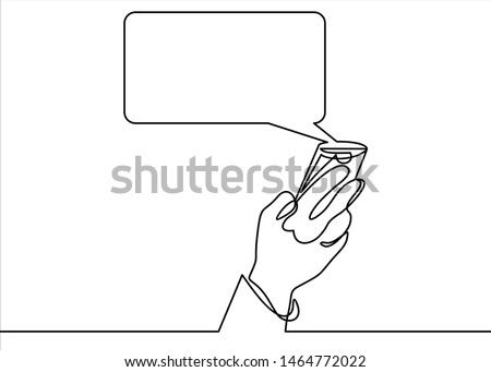 Hand holding smartphone with text message on screen and speech bubble. Phone with chat or messenger notification. Instant messaging service, chatting- continuous line.