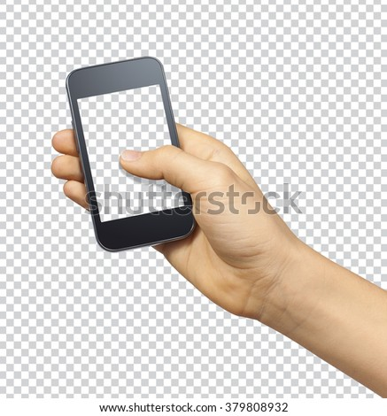 Hand holding smartphone with transparent blank screen on transparent background with clipping path #379808932