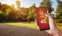 Hand holding smartphone with weather hot sunny day on screen and sunrise on morning at park background.