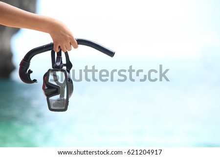 Hand holding snorkel goggles against beach and sky