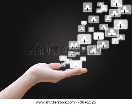 Hand holding social network - stock photo