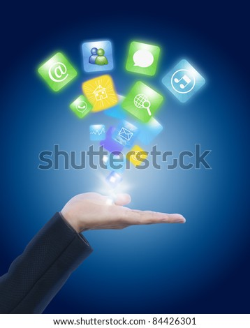 Hand holding social network icon