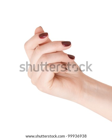 Hand holding something (business card, money), or showing a manicure