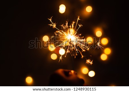 Hand holding sparkler.Abstract and brightly colorful firework in the celebration and anniversary festival.Merry Christmas and New year party light over night sky. #1248930115
