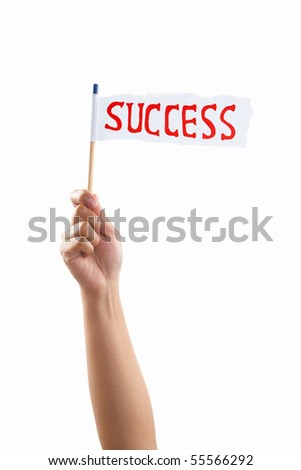 Hand holding success flag, shot against white background