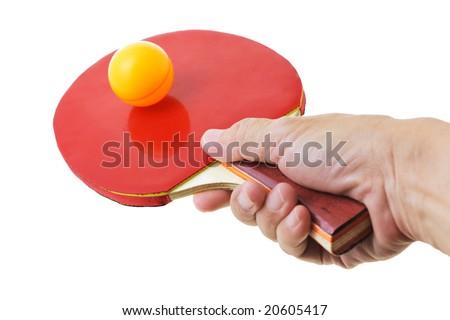 Hand holding table tennis bat balancing the ball