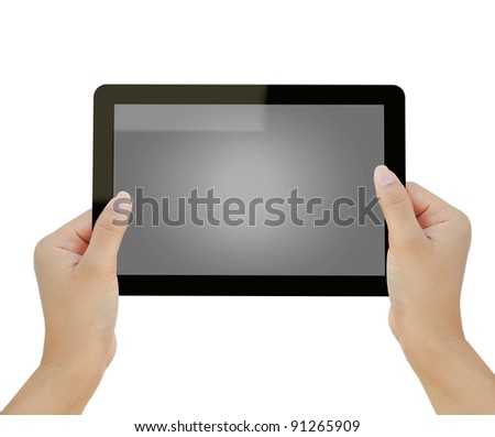 Hand holding tablet computer