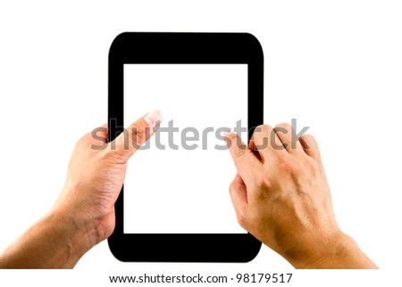 Hand holding tablet with blank screen isolated on white background