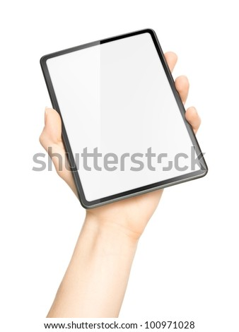 Hand holding tablet with screen as copy space, isolated on white background.