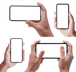 Hand holding the black smartphone with blank screen and modern frameless design in two rotated perspective positions - isolated on white background - Clipping Path