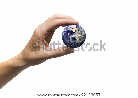 Hand holding the globe, earth image courtesy of www.nasa.com