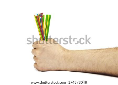 Hand holding the jackstraws #174878048