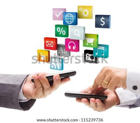 Hand holding the phone with colorful application icons, isolated on white background