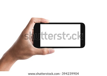 hand holding the smartphone isolated on white background. #394239904