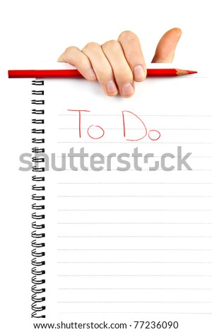 hand holding  to do list paper note and red pencil