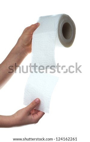 hand holding toilet paper over white background - stock photo