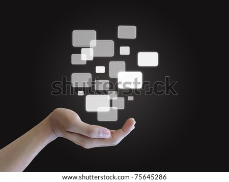Hand holding touch screen interface