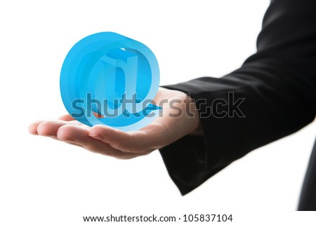 Hand holding transparent email icon, isolated on white background