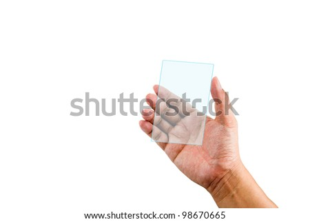Hand holding transparent plastic device isolated on white background
