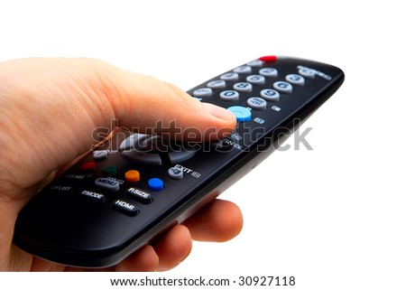 Hand holding TV remote control. Isolated on a white background