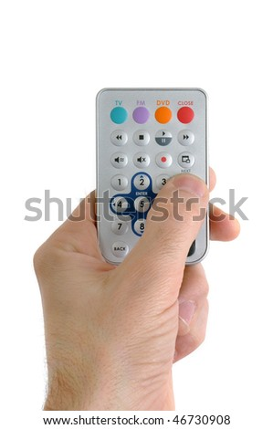 Hand holding tv remote controller on white background