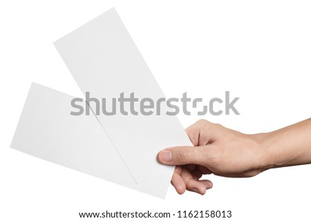 Hand holding two blank sheets of paper (tickets, flyers, invitations, coupons, banknotes, etc.), isolated on white background #1162158013