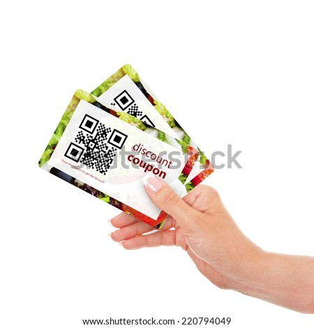 hand holding two  discount coupons with qr code isolated over white background Stock photo ©