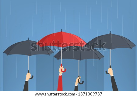 Hand holding umbrellas. One man with red umbrella around group of grey ones. Idea of individuality. Isolated  illustration in cartoon style