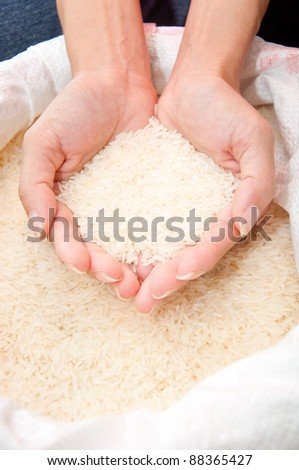 hand holding uncooked rice