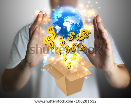 hand holding US dollar with globe