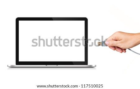 Hand holding USB cable with blank screen Laptop Computer