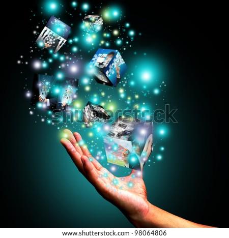 Hand holding virtual box