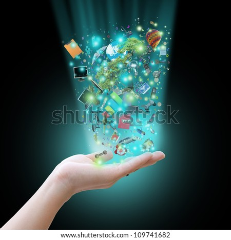 Hand holding virtual object