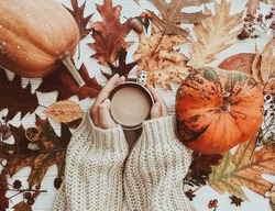 Hand holding warm coffee and pumpkins and colorful leaves top view. Stylish autumn flat lay. Hello fall. Cozy warm image