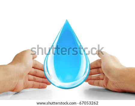 Hand holding water drop - stock photo