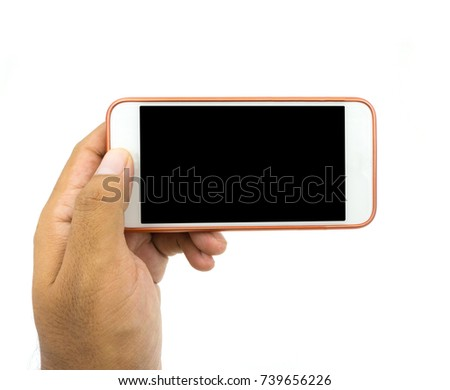 Hand holding white smart phone isolated over white background. #739656226