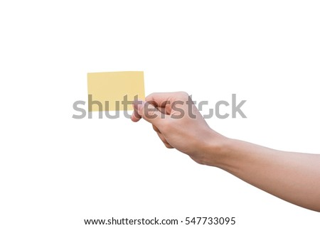 Hand holding yellow paper isolated on white