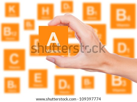 Hand holds a box of vitamin A - stock photo