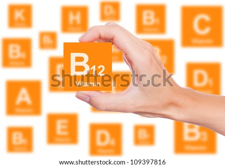 Hand holds a box of vitamin B12