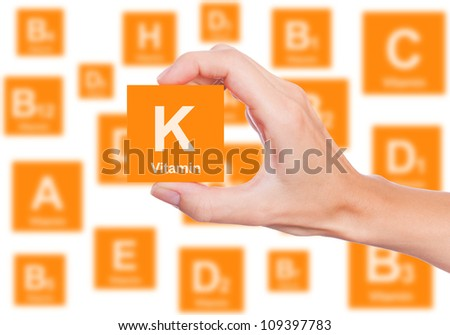 Hand holds a box of vitamin K